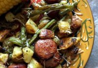Plate of sausge and green beans